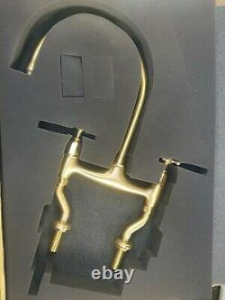 Perrin & Rowe 4192-BR Two Hole Mixer Tap With Crosshead Handles Brass