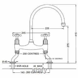 Perrin & Rowe Ionian kitchen sink bridge mixer tap. Pewter finish 4192PF