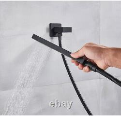 Poiqihy 12 inch LED Rain Shower Combo Set Wall Mounted Shower WithHandheld Shower