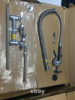 Pre-Rinse commercial kitchen sink tap with hot and cold supplies. 200mm centres