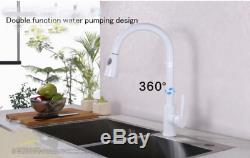 Pull Out Bath Brass Kitchen Sink Faucet Deck Mount One Hole Mixer Tap, White