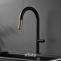 Pull Out Kitchen Faucet Rose Gold And White Sink Mixer Tap 360 Degree Rotation