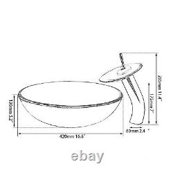 Purple Round Tempered Glass Art Basin Bowl Vessel Sink Mixer Waterfall Faucet