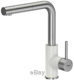 Quadron Angelina Pull Out Kitchen Sink Mixer Tap Stainless Steel White Finish