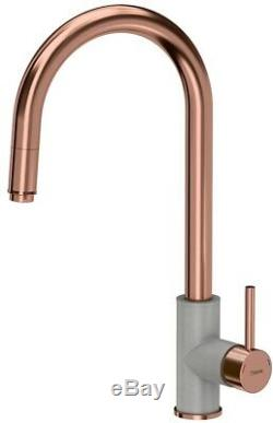 Quadron Jennifer Pull Out Kitchen Sink Mixer Tap Copper/grey Finish Pvd Steelq