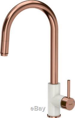 Quadron Jennifer Pull Out Kitchen Sink Mixer Tap Copper/white Finish Pvd Steelq