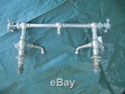 RARE antique SINK FAUCET mixer bridge 4 HANDLES kitchen PLUMBING bathroom OLD
