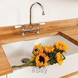 Rangemaster Belfast bridge kitchen sink mixer tap in brushed nickel TBL1BF