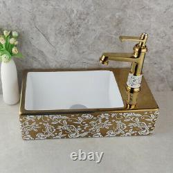 Rectangle Bathroom Ceramic Basin Vessel Sink Combo Gold Mixer Faucet Waste Drain