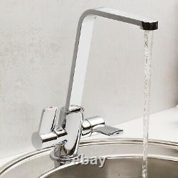 Reginox Chrome Modern Kitchen Sink Mixer Tap Dual Twin Lever Swivel Spout Basin