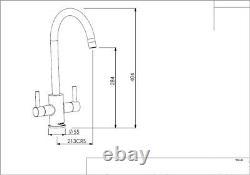 Reginox Kitchen Sink Tap Brushed Nickel Swivel Spout Mixer Taps Dual Lever Mono