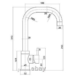 Reginox Rion Kitchen Sink Tap Swivel Spout Mixer Hot Taps Single Lever Gunmetal
