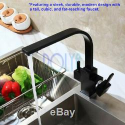 Rolya Tri Flow Kitchen Faucet Square Black 3 Way Water Filter Tap Sink Mixer