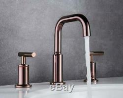 Rose Gold Brass Unique Luxury Bathroom Sink Faucets Hot&Cold Mixer Tap 2 handles