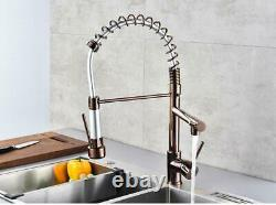 Rose Gold Two Functions Spring Kitchen Sink Brass Faucet Pull Out/Down Mixer Tap