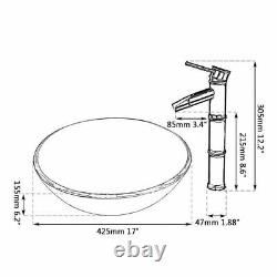 Round Tempered Glass Basin Bowl Bathroom Sink Combo Mixer Black Faucet Drain Set