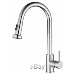 Round VENICE Pull Out Swivel Kitchen Laundry Sink Flick Mixer Tap Brass Chrome