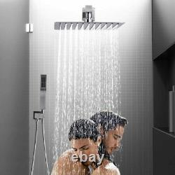 Shower Faucet System Brushed Nickel 16 inch Rainfall Shower Head Wall Mounted