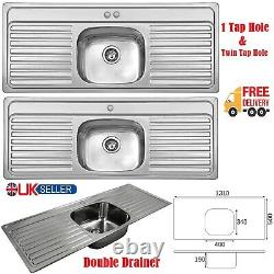 Single Bowl Stainless Steel Double Drainer Inset Kitchen Sink 1 & Twin Tap Hole