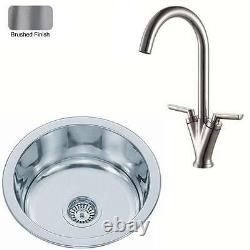 Small Round Stainless Steel Inset Kitchen Sink & Mixer Tap Brushed (KST101 bs)