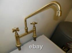 Solid Brass Mixer Taps Ideal Belfast Sink Fully Refurbed Taps 10 Inch Reach Old