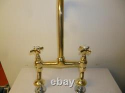 Solid Brass Original Antique Kitchen mixer refurbished old vintage reclaimed