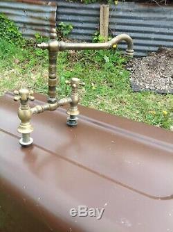 Solid brass Antique Kitchen mixer Taps Very Rare old vintage Belfast Sink