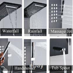 Stainless Steel Shower Panel Tower System, Rain Massage Jets Sprayer Black Color