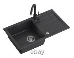 Steiner Go-max Granite Kitchen Sink+mixer Tap+full Waste Kit 2in1 Set Black
