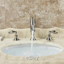 Swan Design Widespread Bathroom Sink Faucet Double Handles Basin Mixer Tap