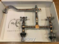T500 Chrome Liberty Victorian crosshead belfast sink bridge mixer taps 3/4 NEW