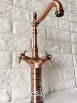 Tall Kitchen Bathroom Basin Faucet Sink Mixer Tap Antique Red Copper erg057