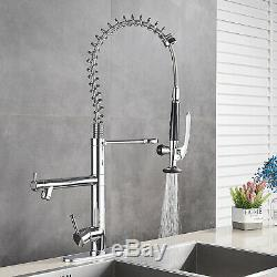 Tall Kitchen Faucet Pull Down Sprayer Sink Mixer Tap Chrome Finish With 10Cover
