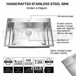 Top Mount Stainless Steel Kitchen Sink 2-Hole Handmade 16 Gauge Drain 29.5 inch