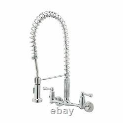 Tosca Kitchen Faucet Wall Mount 2 Handle Pull Down Sprayer Heavy Duty Industrial