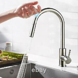 Touch Sensor Kitchen Sink Faucet Swivel Pull Out Sprayer Smart Mixer Taps Nickel