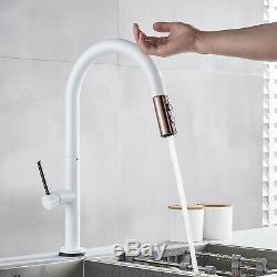 Touch Sensor White Swivel Kitchen Sink Faucet Pull Out Spray Mixer Tap