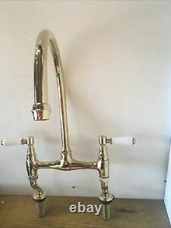 Traditional Brass Bridge Lever Kitchen Taps Ideal Belfast Butler Sink T68
