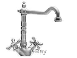 Tre Mercati French Mono Kitchen Sink Tap Mixer Pewter plated finish classic 196