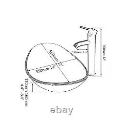 UK Bathroom Silver Oval Glass Vanity Basin Bowl Vessel Sink Mixer Faucet & Drain