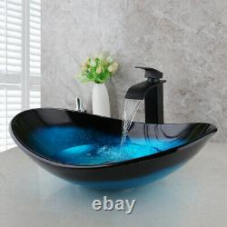 US Blue Oval Vessel Sink Tempered Glass Washing Bowl Waterfall Faucet Mixer Taps