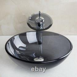 US Clear Black Tempered Glass Basin Bowl Bathroom Vessel Sink Mixer Facuet Combo