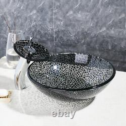 US Round Bathroom Glass Vessel Sink Basin Bowl Combo Waterfall Mixer Faucet Set