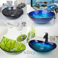 US Round/Oval Bathroom Glass Vessel Basin Sinks Bowl & Brass Mixer Faucet Combo