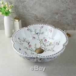 US Vintage Ceramic Basin Bowl Combo Vessel Sink Antique Brass Mixer Faucet Set