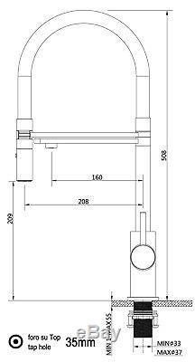 VIZIO 3 way two handle kitchen filter sink mixer 2 jet spray black spout