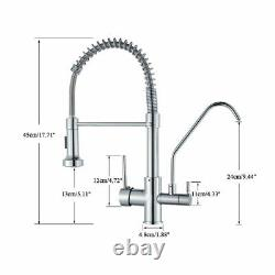 WANFAN Commercial 3 in 1 Kitchen Faucet Dual Handle RO Drink Water Tap WithSprayer