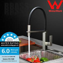 WELS Kitchen Nickel Brushed Taps Sink Mixer Swivel Pull Down Spray Head Faucet