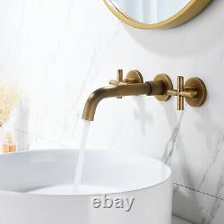 Wall Mount Bathroom Basin Antique Brass Sink Tub Faucet Dual Handle Mixer Tap