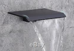 Wall Mount Bathroom Sink Mixer Tap Waterfall Spout Tub Faucet Black Mixer Tap